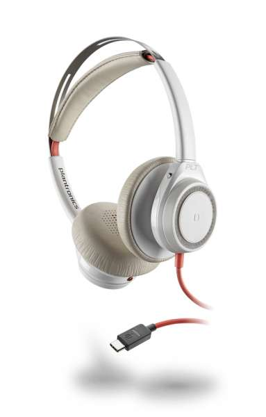 Poly Blackwire C7225 USB-C ANC Duo White NC Headset mit Active Noise Cancelling & CallControl für UC