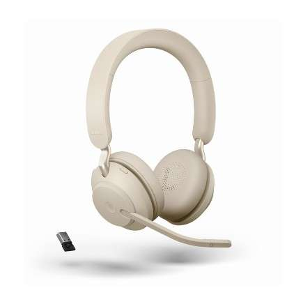 Jabra Evolve2 65 Link380a MS Stereo Beige Bluetooth NC Headset inkl. Link 380 USB-A MS Teams BT Dong